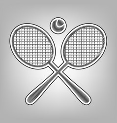 Two tennis racket with ball sign pencil vector