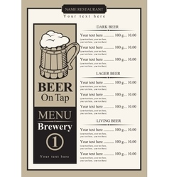 Beer menu with price list vector