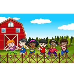 Farm scene with many children on the yard vector