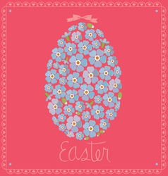 Card with egg from flowers of forget-me-nots vector
