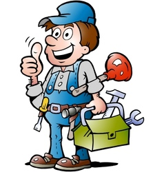 Hand-drawn of an happy plumber handyman giving vector