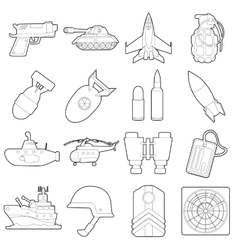 Military icons set outline cartoon style vector