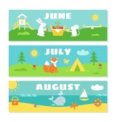 Summer months calendar flashcards set nature vector