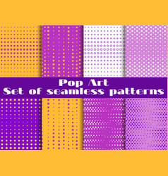 Dotted pop art seamless pattern background set vector