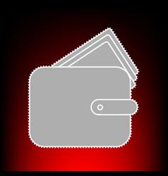 wallet sign postage stamp or old vector image
