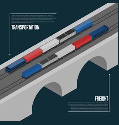 Freight transportation isometric banner vector