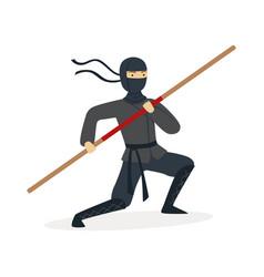 Ninja assassin character in a full black costume vector