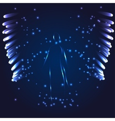 Luminous angel on a dark background vector