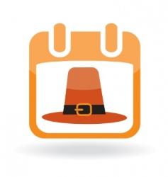 calendar icon with pilgrim hat vector image
