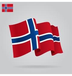 Flat and waving Norwegian Flag vector image