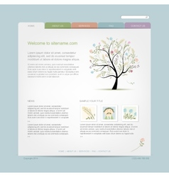 Website design template with floral tree vector
