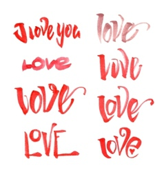 Watercolor love lettering set vector