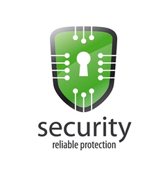 logo shield with chips and lock vector image