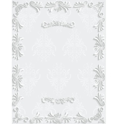 White vintage background with floral vector