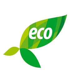 Abstract eco logo with green leaves vector