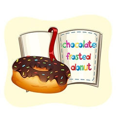 Chocolate frosted donut and a book vector