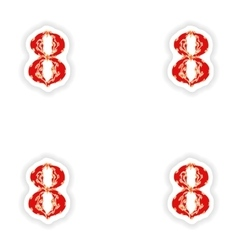 Assembly stickers fiery font red number 8 on white vector