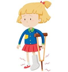 Little girl with broken leg vector