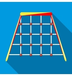 Climbing net in playground icon flat style vector