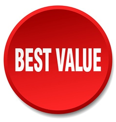Best value red round flat isolated push button vector