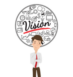 Businessman thinking about business vision vector