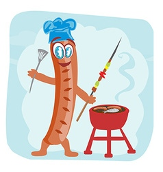Cheerful sausage - funny doodle invitation vector
