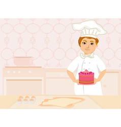 chef serves cake vector image