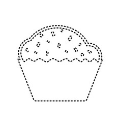 cupcake sign black dashed icon on white vector image