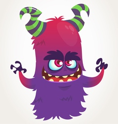 Cute cartoon purple horned monster vector image vector image