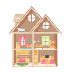 Doll house with two storeys and little furniture vector