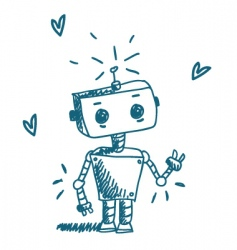 doodle robot vector image vector image