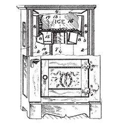 Early model refrigerator vintage vector