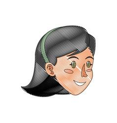 Face woman head dark hair diadem draw vector