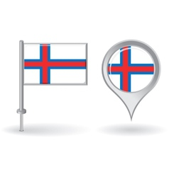 Faroe Islands pin icon and map pointer flag vector image