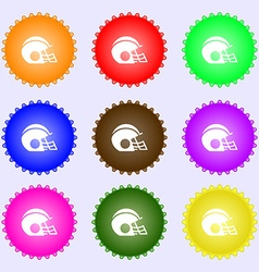 Football helmet icon sign big set of colorful vector