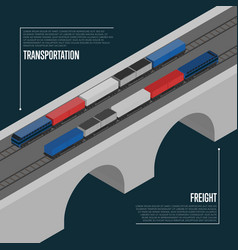 Freight transportation isometric banner vector