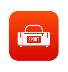 Large sports bag icon digital red vector