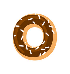 letter o donut font doughnut alphabet sweet vector image