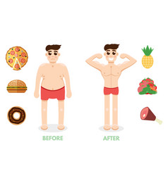 man before and after fitness unhealthy lifestyle vector image