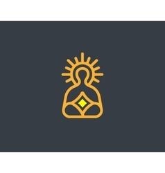 Meditation yoga linear logo design zen balance vector