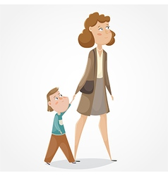 mother and son walking and holding hands vector image vector image