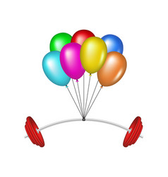 Multicolored balloons lifting a heavy barbell vector