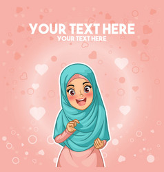 Muslim woman happy holding her hijab vector