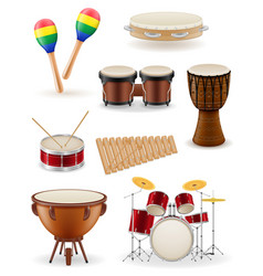 Percussion musical instruments set icons stock vector