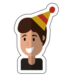 Portrait young man smiling hat party vector