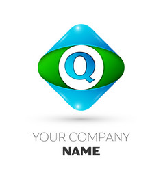 Realistic letter q logo in colorful rhombus vector