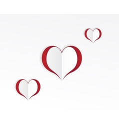 Red hearts paper sticker vector image