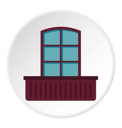 Retro window and flowerbox icon circle vector
