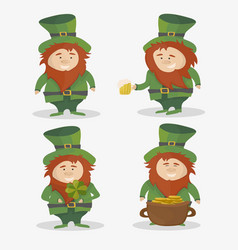 saint patrick national irish holiday - set vector image