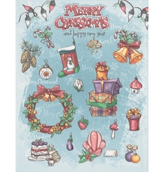Set of christmas holiday items as well as vector